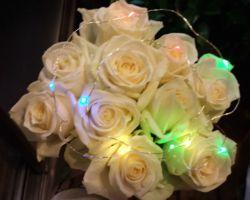 白バラのブーケ(LED付)